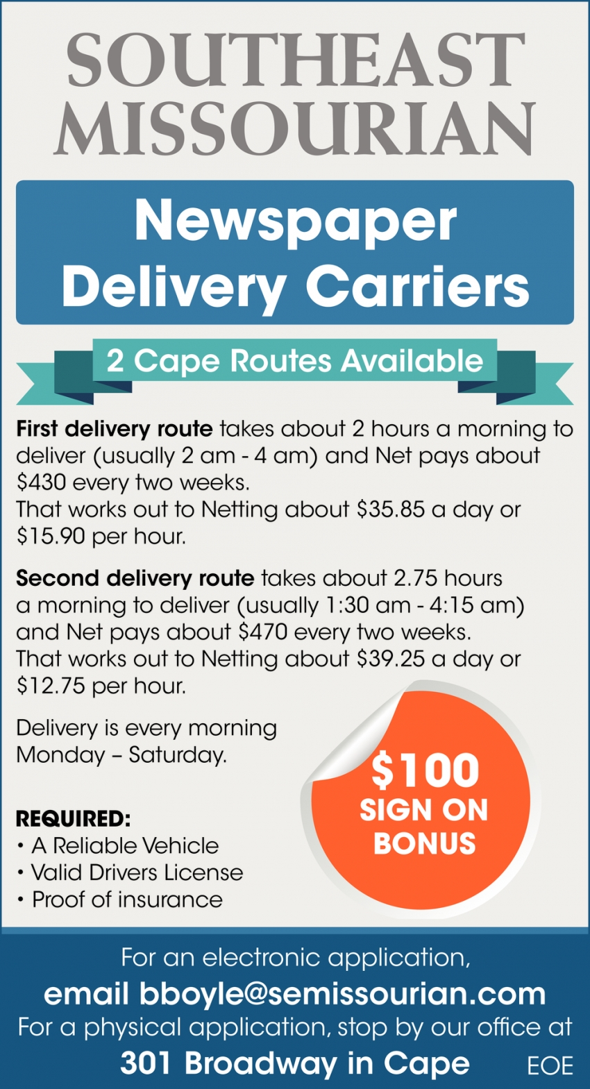 Newspaper Delivery Carriers