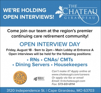 RNs, CNAs/ CMTs, Dinning Servers, Housekeepers