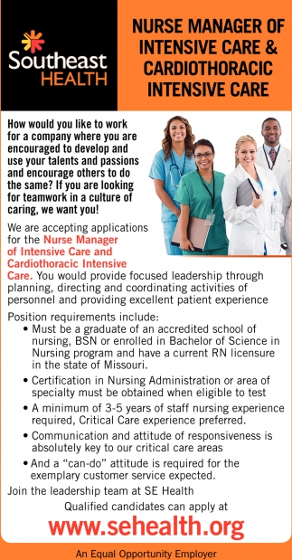 Nurse Manager of Intensive Care & Cardiothoracic Intensive Care