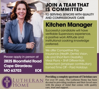 Manager, Lutheran Home, Cape Girardeau, MO