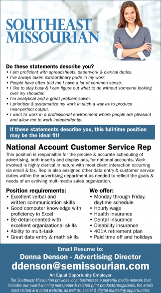 National Account Customer Service Rep