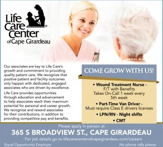 Wound Treatment Nurse, Van Driver, LPN, RN, CMT