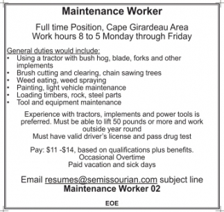 maintenance worker resumes
