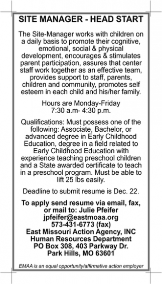 Site Manager Head Start East Missouri Action Agency