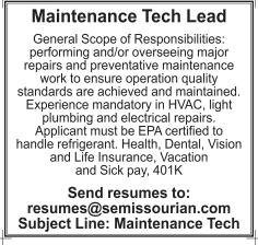 Maintenance Tech Lead