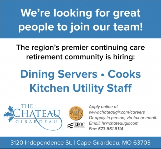 Dining Servers - Cooks - Kitchen Utility Staff