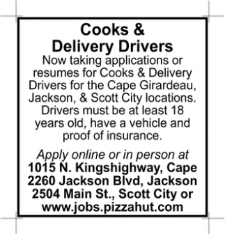 Cooks & Delivery Drivers