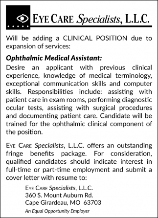 Ophthalmic Medical Assistant Eye Care Specialists L L C