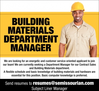 Building Materials Department Manager
