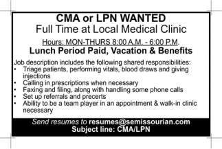 CMA or LPN Wanted