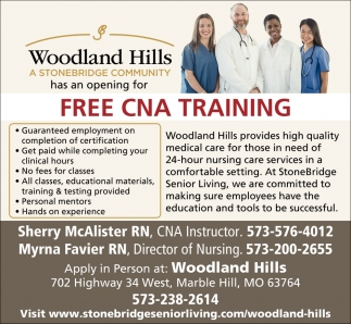 Free Cna Training Woodland Hills Marble Hill Mo