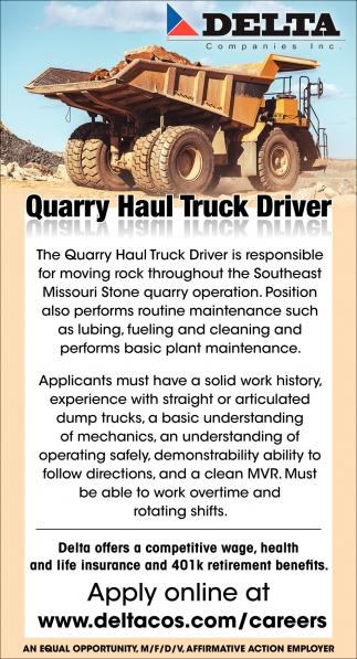 Quarry Haul Truck Driver