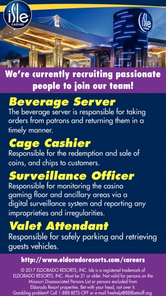 Beverage Server, Cage Cashier, Surveillance Officer, Valet Attendant