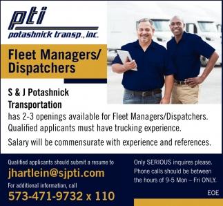 Fleet Managers/ Dispatchers