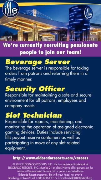 Beverage Server, Security Officer, Slot Technician