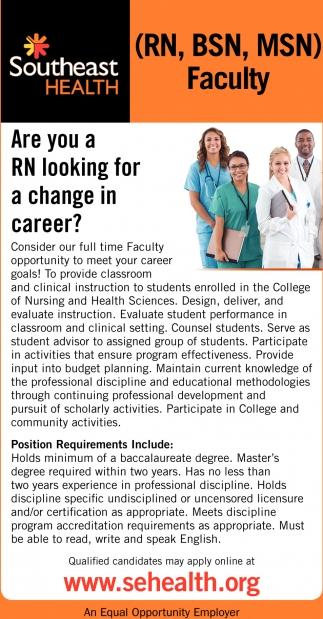 (RN, BSN, MSN) Faculty