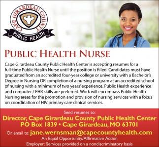 Public Health Nurse, Cape Girardeau County Public Health Center ...