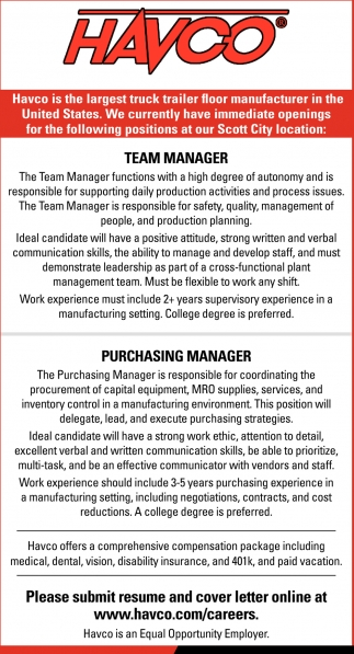 Team Manager, Purchasing Manager