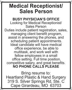 Medical Receptionist/Sales Person, Heartland Plastic & Hand