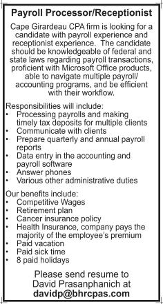 Payroll Processor/Receptionist