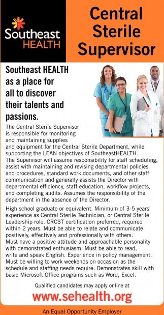 Central Sterile Supervisor