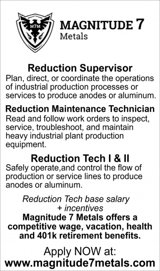 Reduction Supervisor & Techs