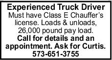 Experienced Truck Driver
