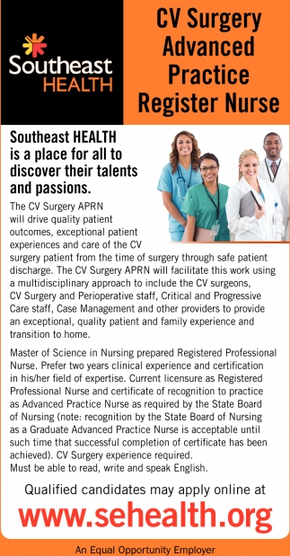 CV Surgery Advanced Practice Register Nurse