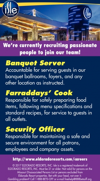 Banquet Server, Farraddays' Cook, Security Officer