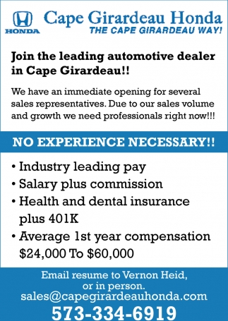 Cape Girardeau Honda >> Join The Leading Automotive Dealer In Cape Girardeau Cape
