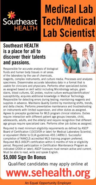 Medical Lab Tech/Medical Lab Scientist