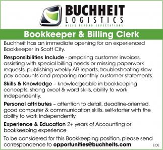 Bookkeeper & Billing Clerk