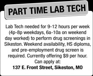 Part Time Lab Tech