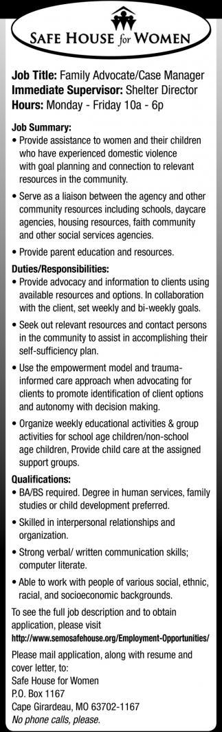 Family Advocate/Case Manager
