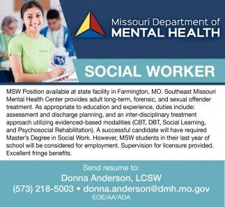 Social Worker Southeast Missouri Mental Health Center Farmington Mo