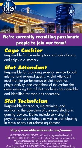 Cage Cashier, Slot Attendant & Slot Technician Wanted