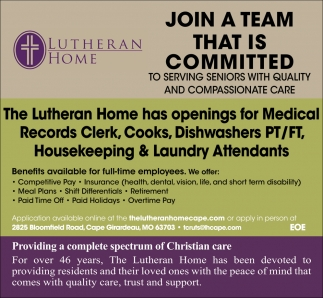 Various Job Openings The Lutheran Home Cape Girardeau Mo