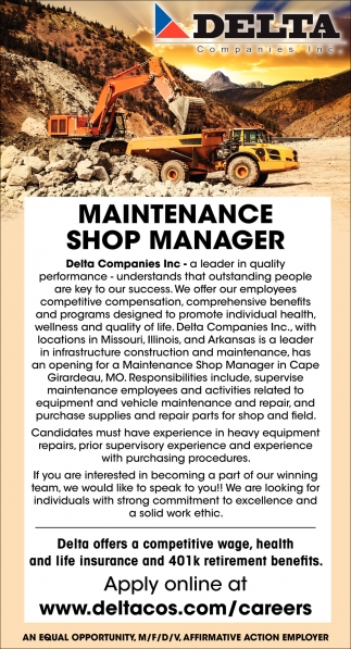 Maintenance Shop Manager