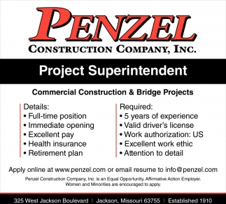 Project Superintendent Penzel Construction Company Inc