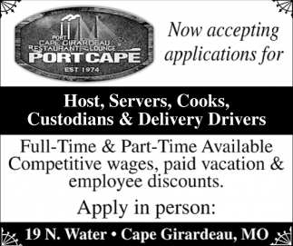 Host Servers Cooks Custodians Delivery Drivers Port Cape