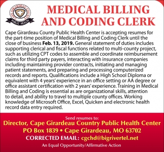 Medical Billing and Coding Clerk