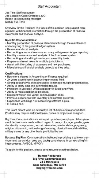 Staff Accountant Big River Com  Human Resources