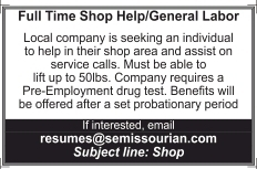 Full Time Shop Help/General Labor