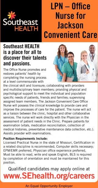 LPN - Office Nurse for Jackson Convenient Care