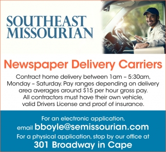 Newspaper Delivery Carriers, Southeast Missourian, Cape