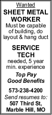 Sheet Metal Worker & Service Tech