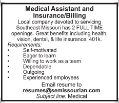 Medical Assistant and Insurance/Billing