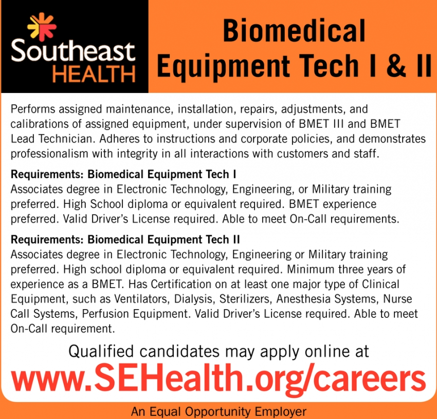 Biomedical Equipment Tech I & II