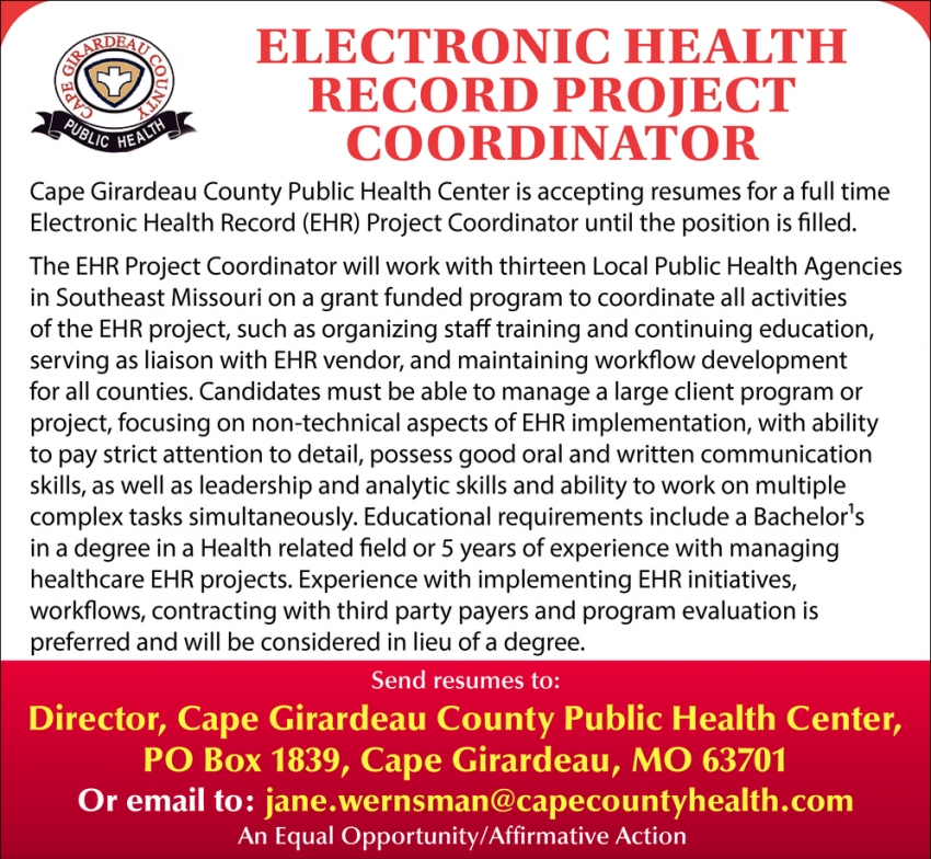 Electronic Health Record Project Coordinator