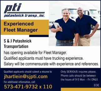 Experienced Fleet Manager